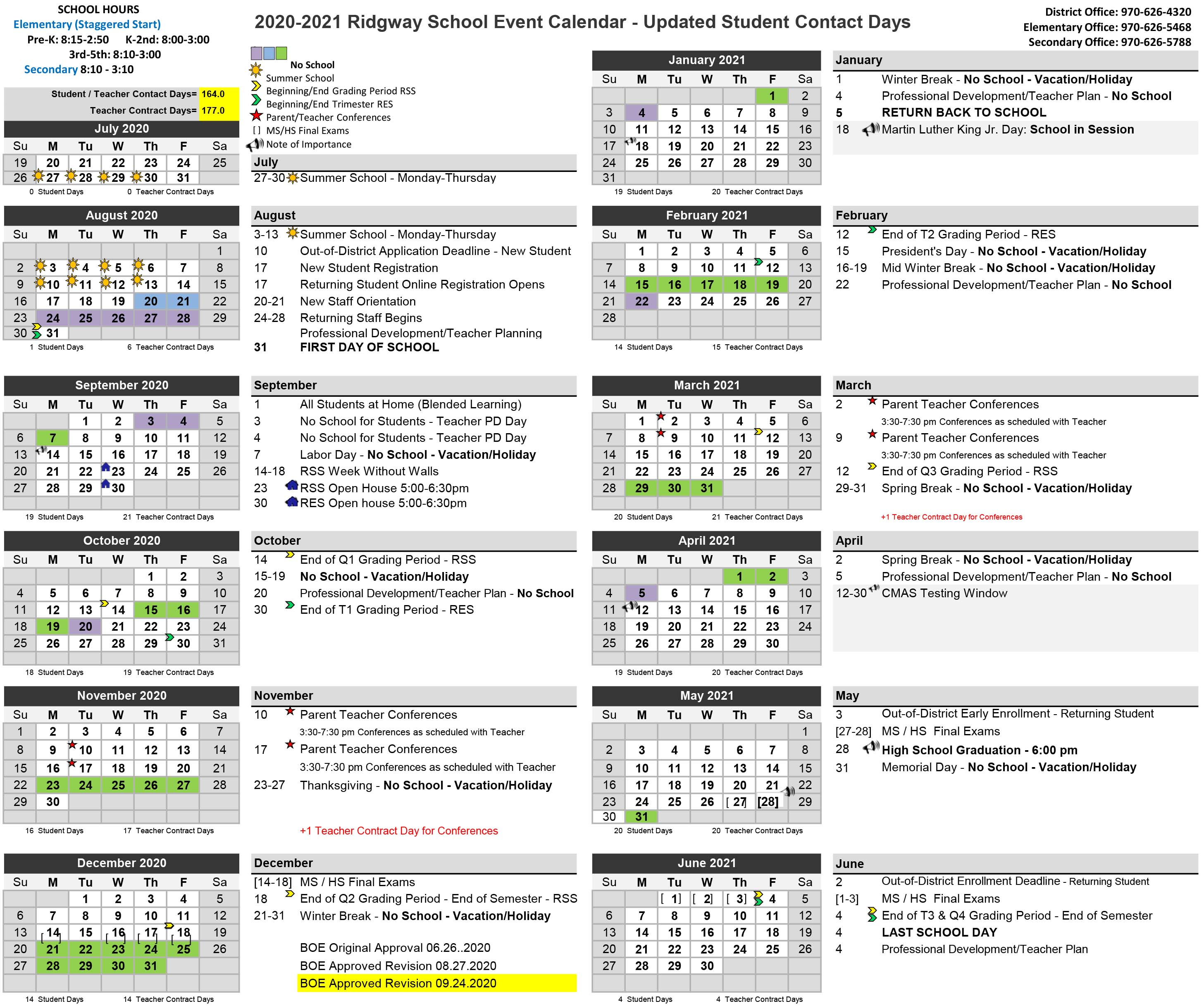 2020 2021 School Event Calendar Updated Student Contact Days 09.24.2020