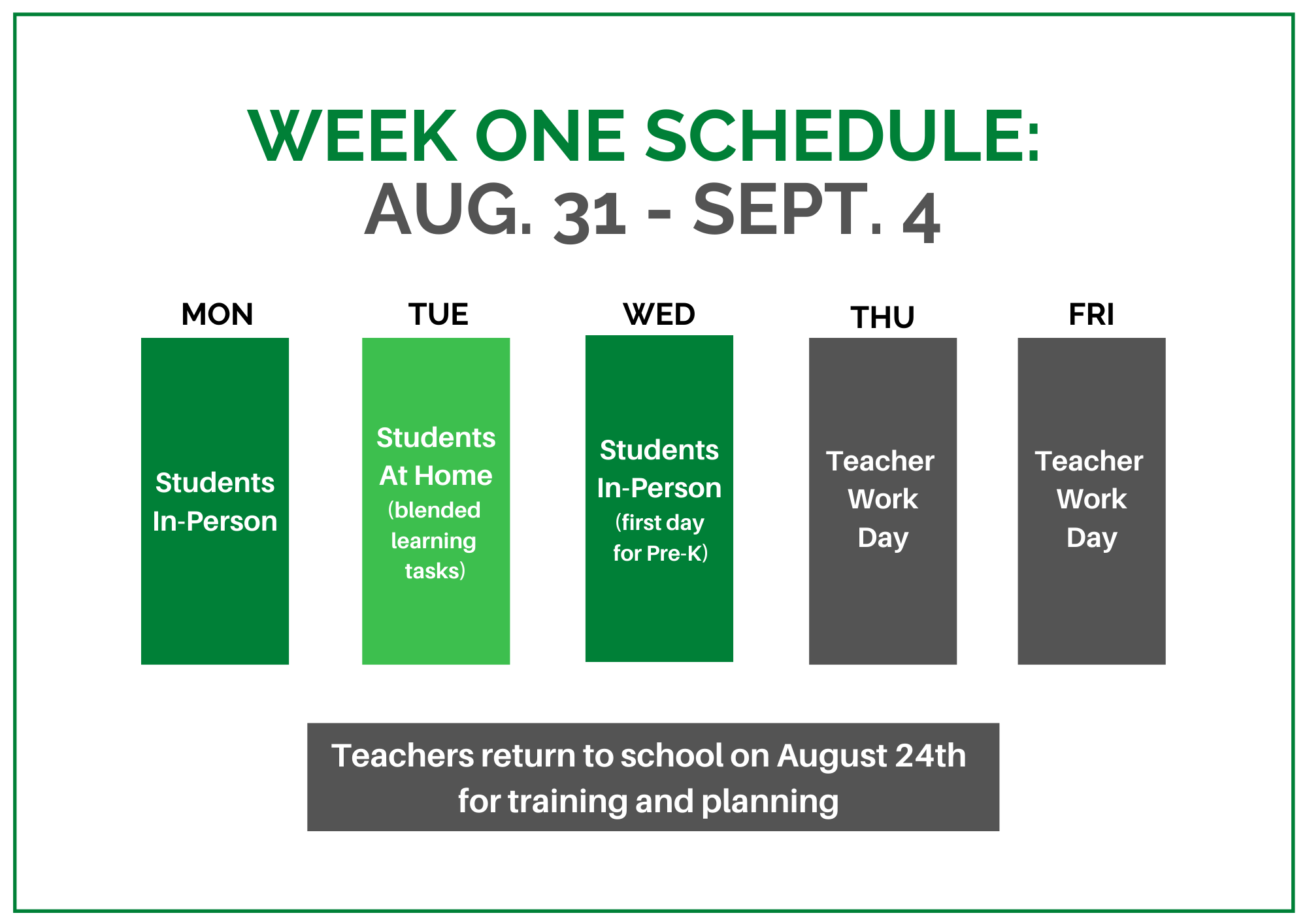 First Week of School Schedule